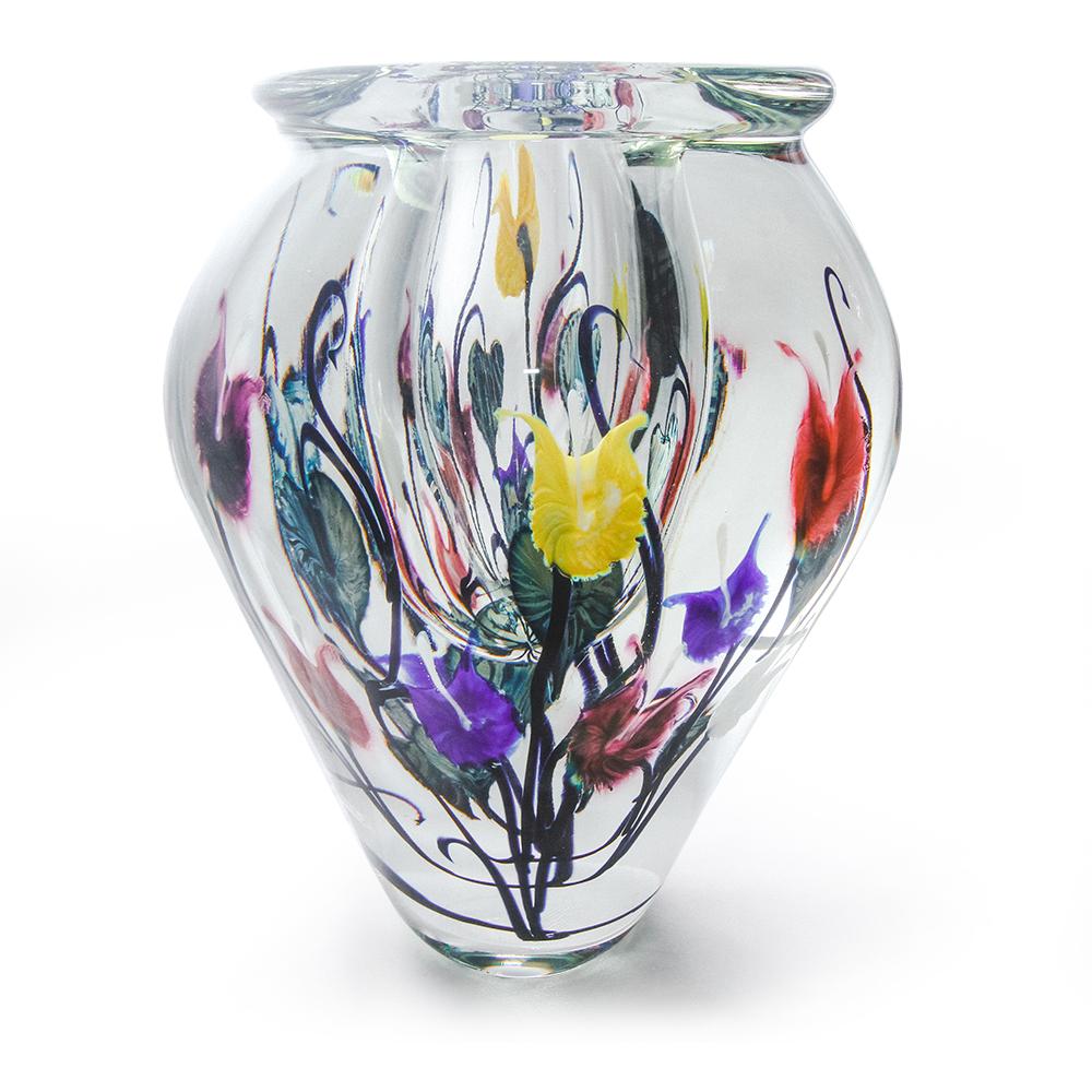 Lotton  Dancing Leaves Vase w Multicolor Bleading Hearts w Multicolor Bleading Hearts 2 - 11x9 shadow.jpg