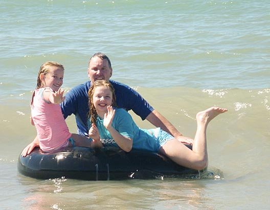 Tractor tubing on Four-Mile Beach is awesome fun!