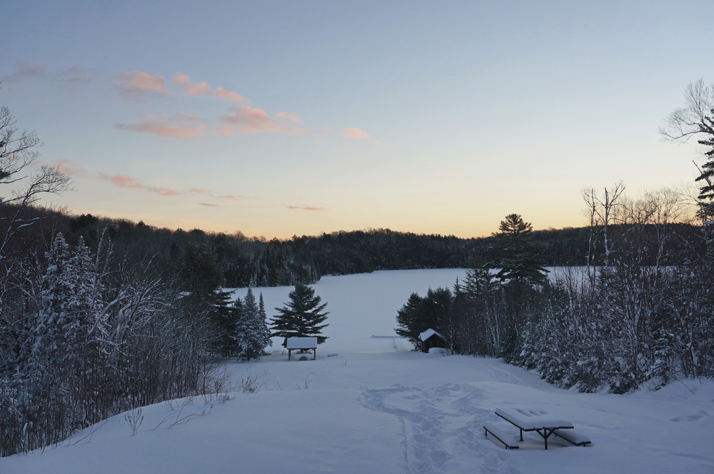 Winter sunrise at the hunt camp
