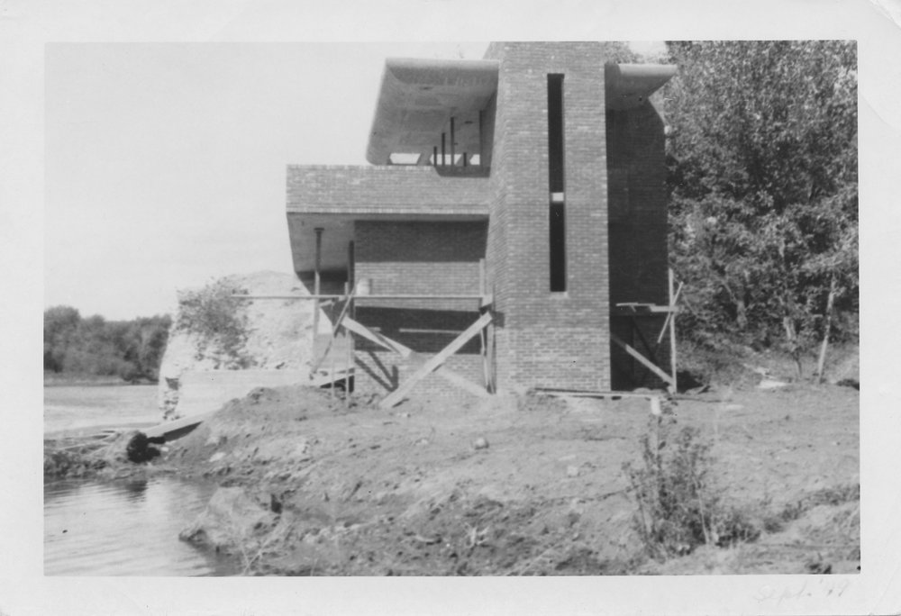 The boathouse at Cedar Rock under construction in 1949.