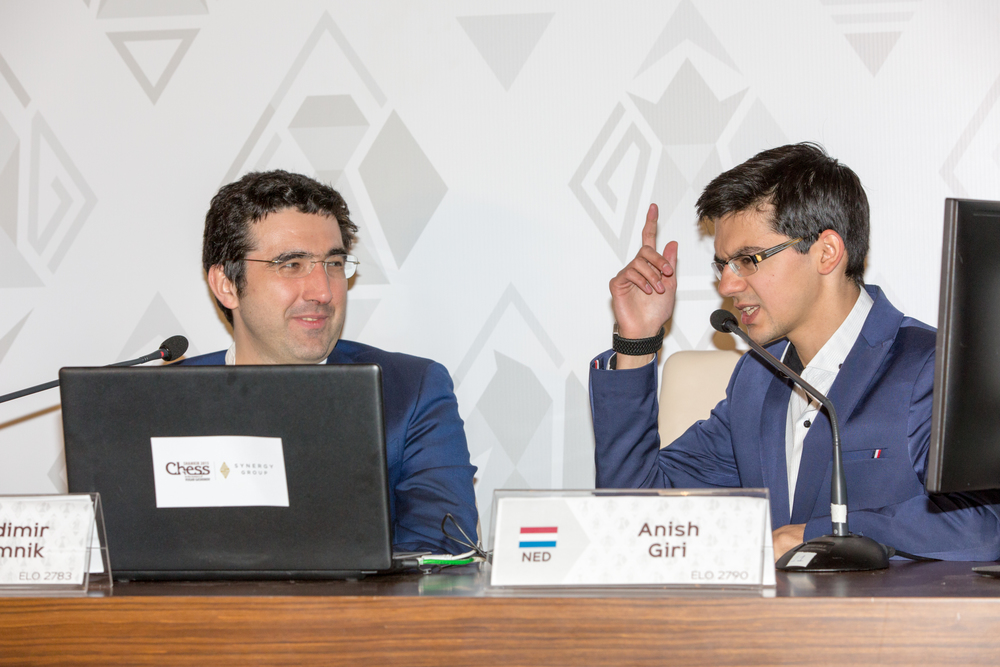 Photo from the recent Vugar Gashimov Memorial. Vladimir and Anish sometimes have draws in their derbiesbut it isnever peaceful!