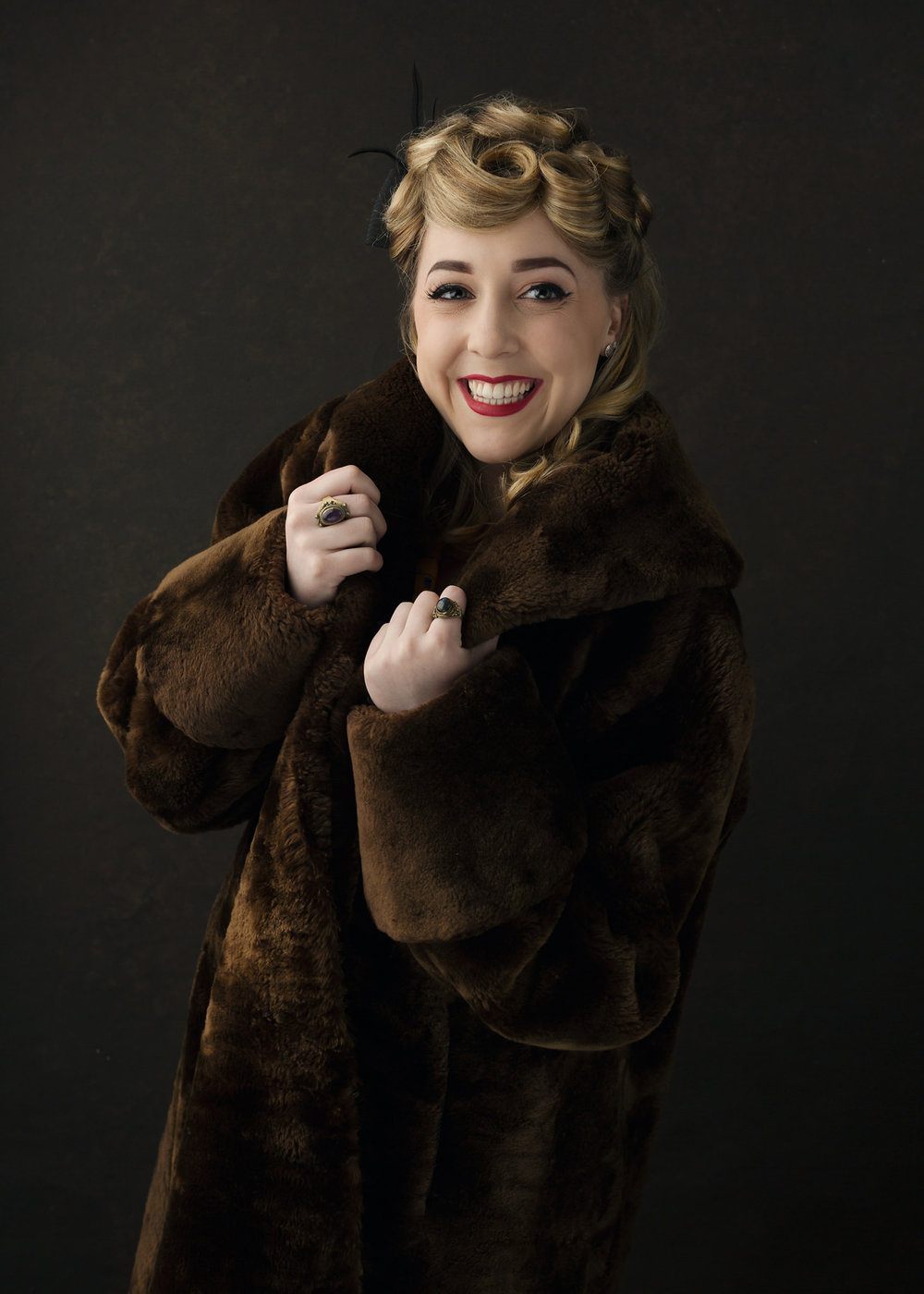 Vintage fur coat model photography