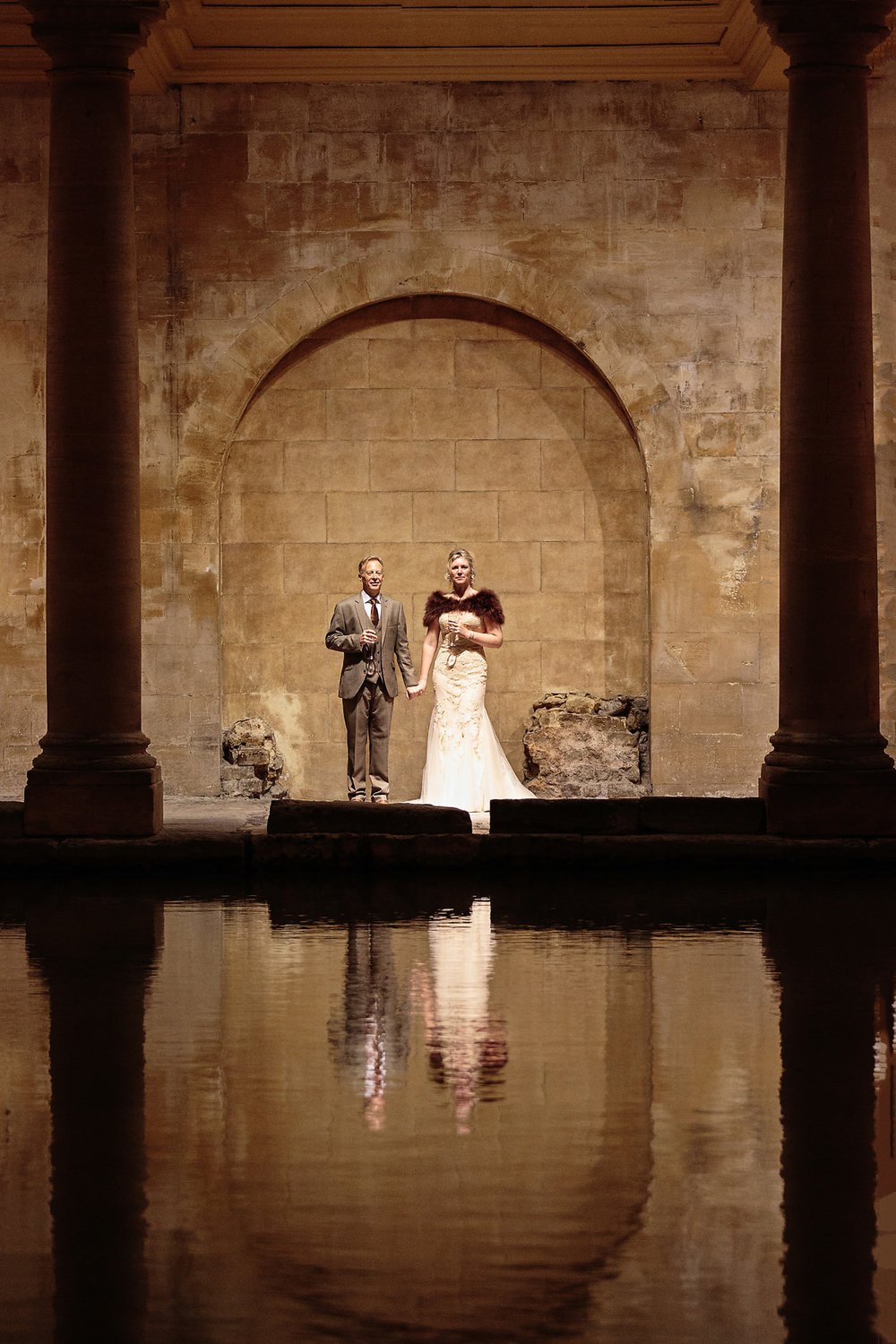 Wedding photography at the Roman Baths in Bath