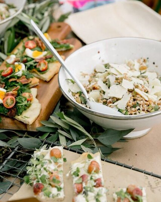 flatbreads + fresh faro salad courtesy of #homethrowncatering