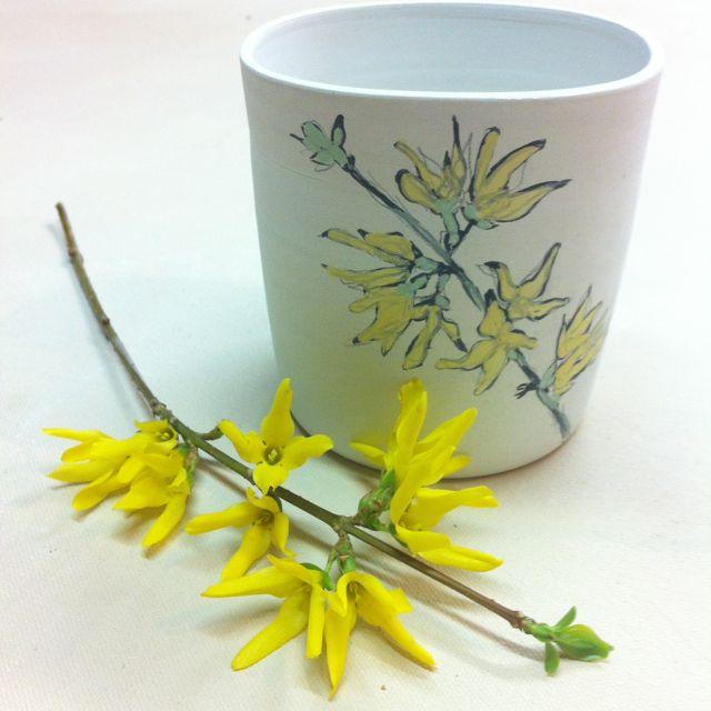 forsythia blossom sketch on squared porcelain tumbler