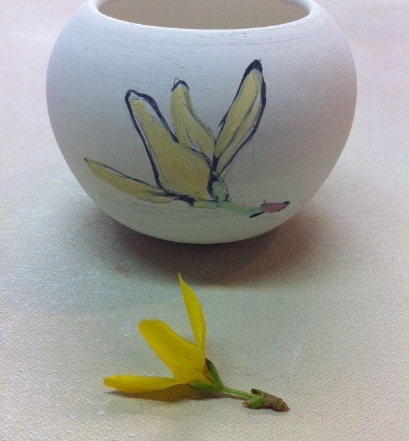 forsythia sketch on porcelain candleholder