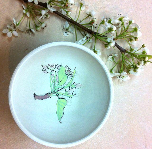 pear blossom sketch on porcelain bowl