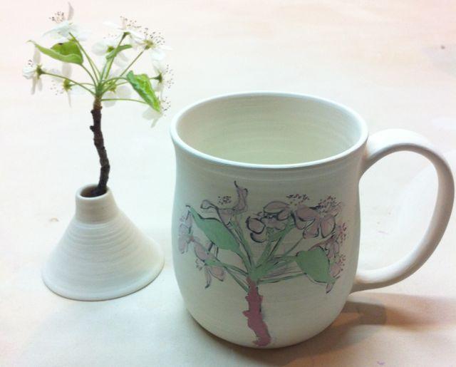pear blossom sketch on porcelain mug