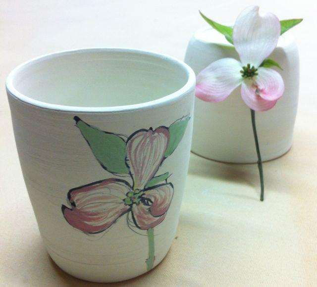 dogwood branch sketch on porcelain cup