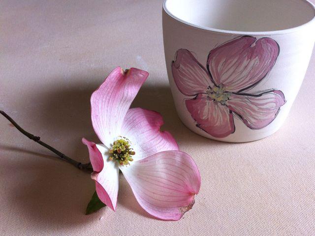 dogwood sketch on porcelain cup
