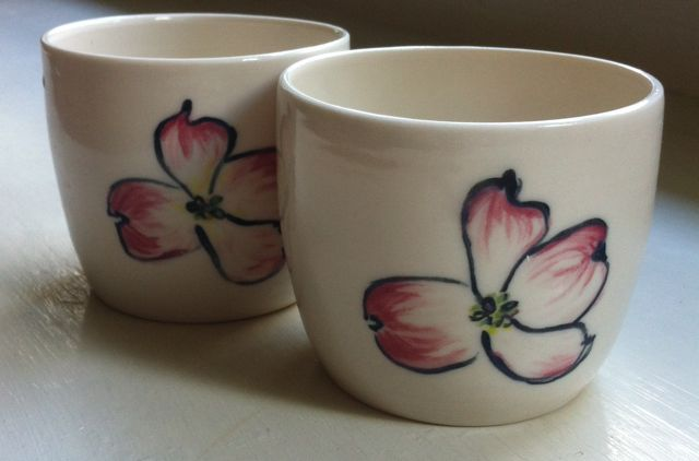 pair of dogwood cups