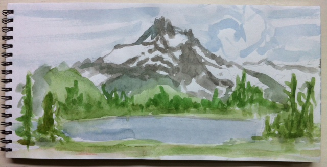 watercolor sketch of Mt Jefferson and Russell Lake