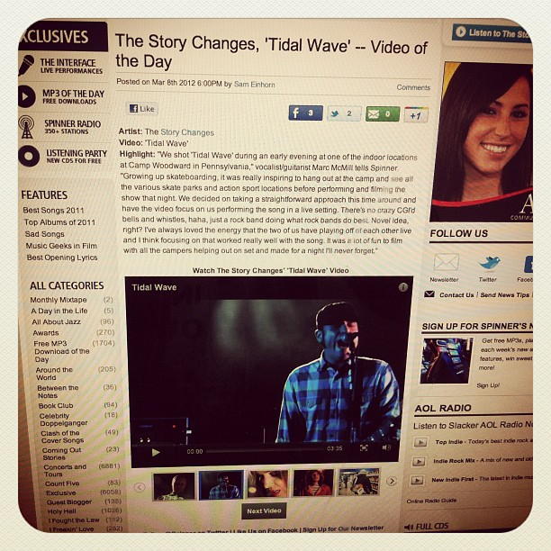 Still digging this video of the day crap for @thestorychanges : http://www.spinner.com/2012/03/08/the-story-changes-tidal-wave-video-of-the-day/ (Taken with instagram)