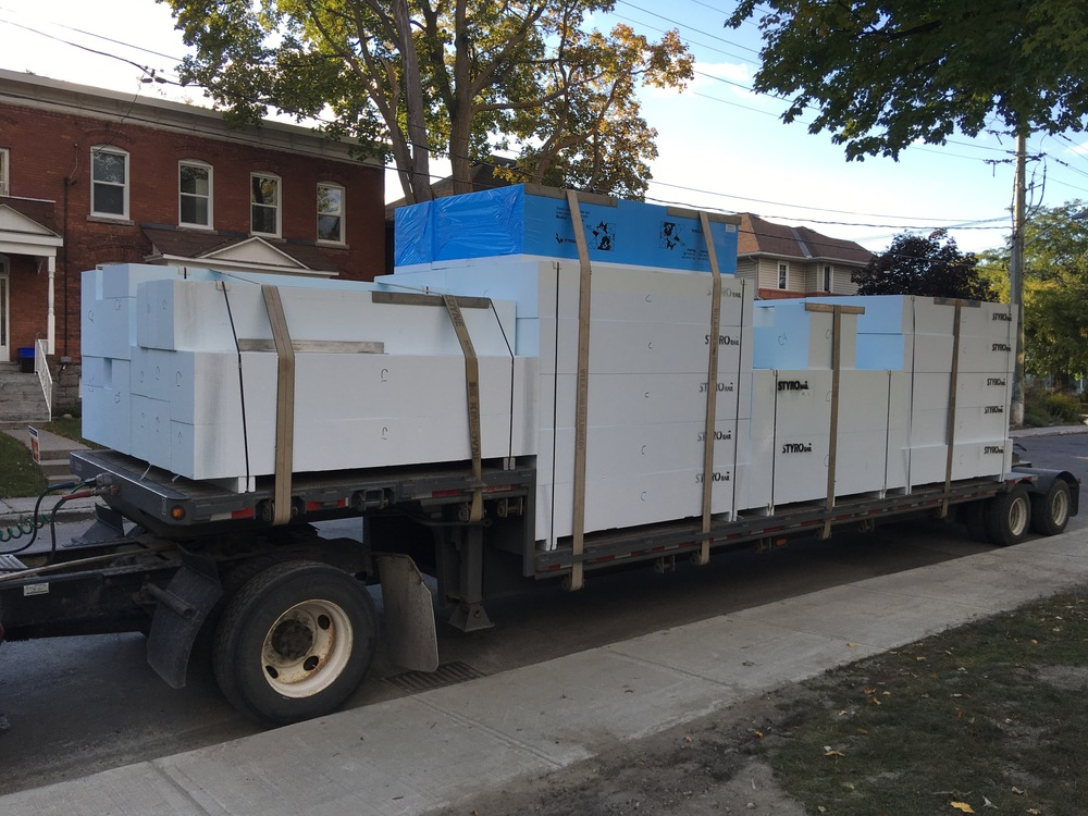 Our tray insulation being delivered by StyroRail.