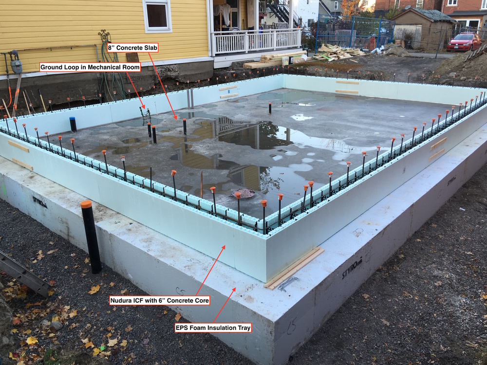 The slab poured and the first layer of ICF in place.
