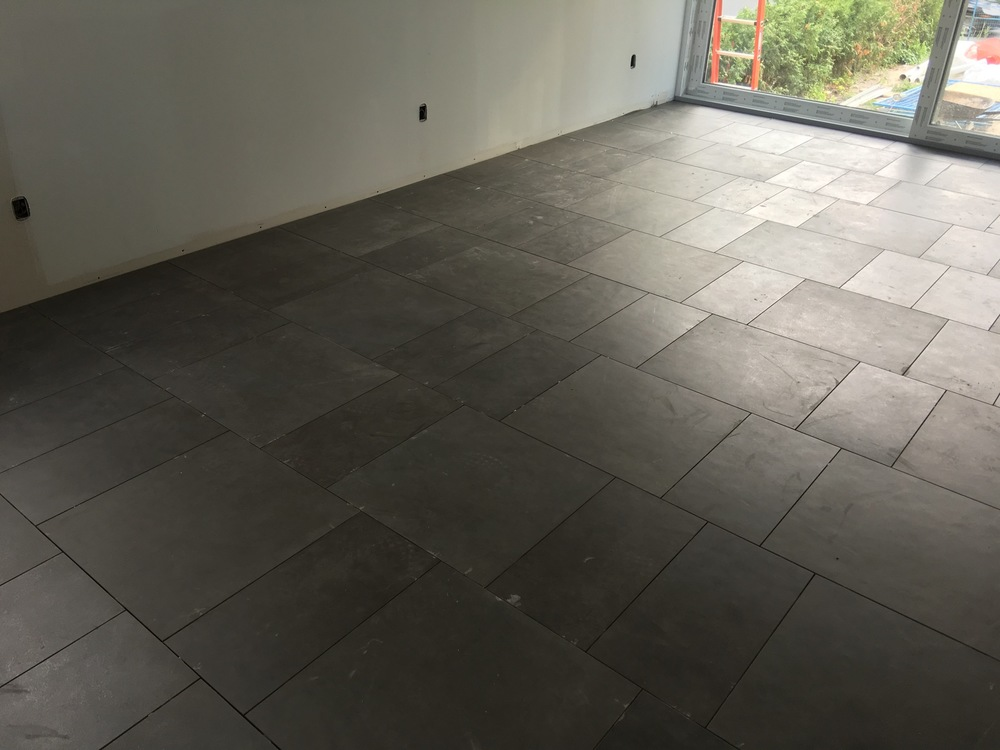 Living room tiles (pre-grout)