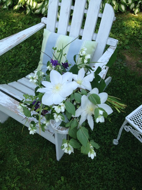 Garden Style Flowers Hand Tied Bouquet Clematis