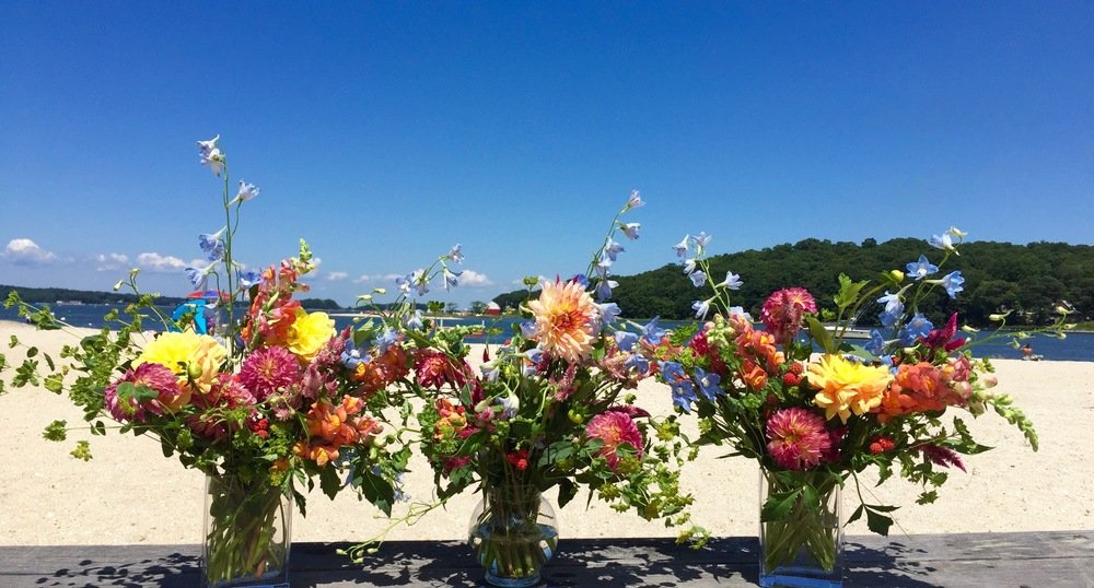 Summer Wedding Flowers Dahlia Centerpieces