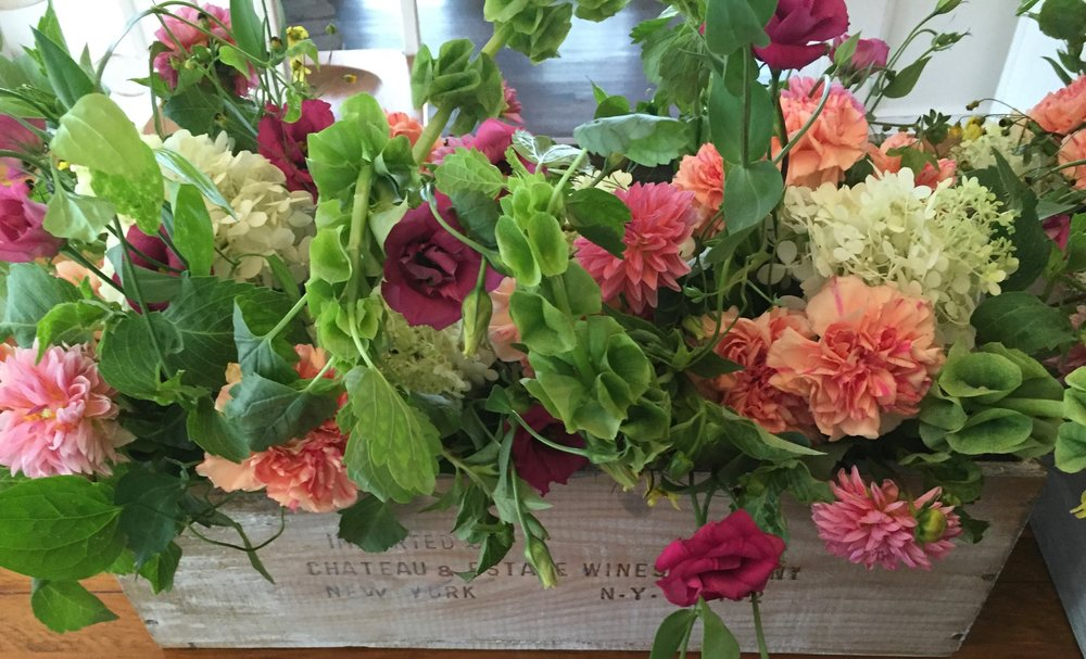 Wedding Flowers Centerpiece Dahlia in Wine Crate