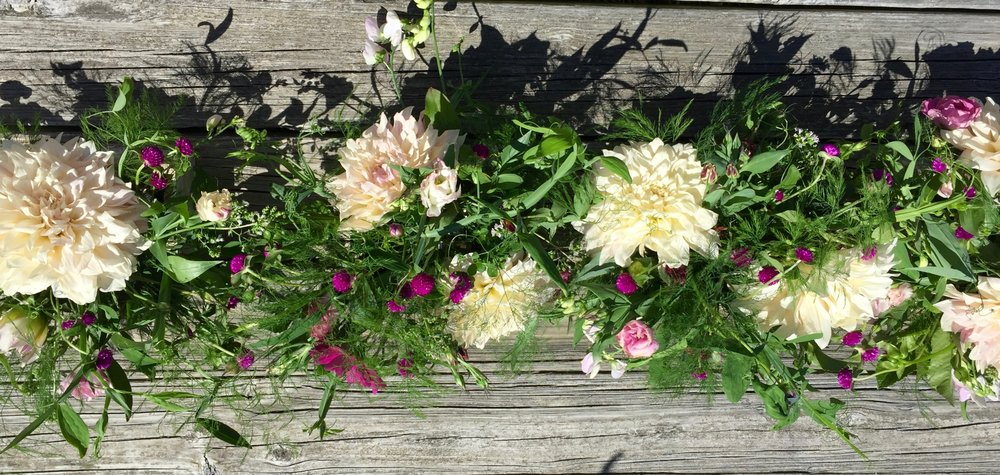 Rustic Wedding Flowers Table Runner Cafe au Lait Dahlia Sweet Peas