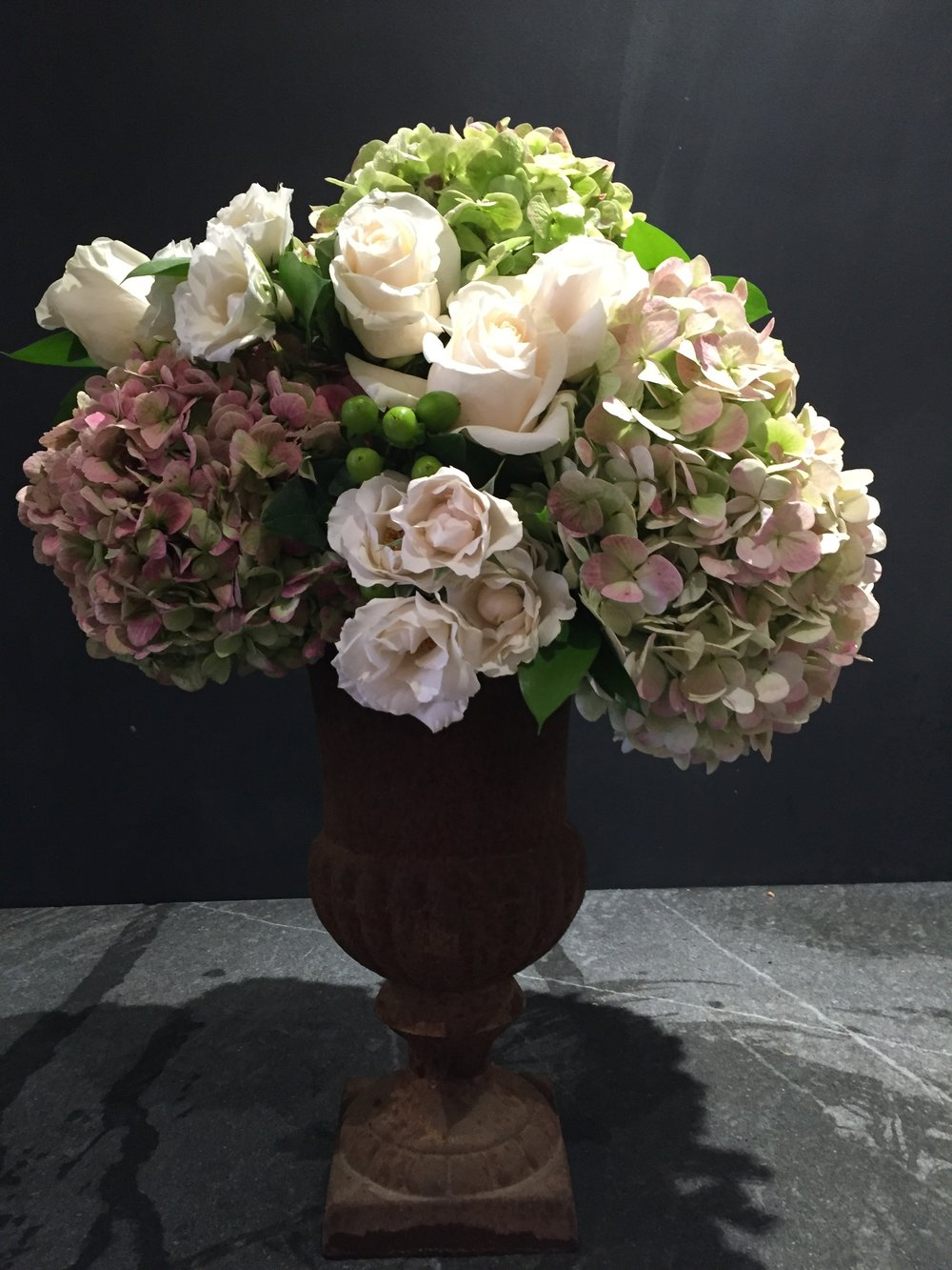 Urn Wedding Centerpiece Antique Hydrangea Roses