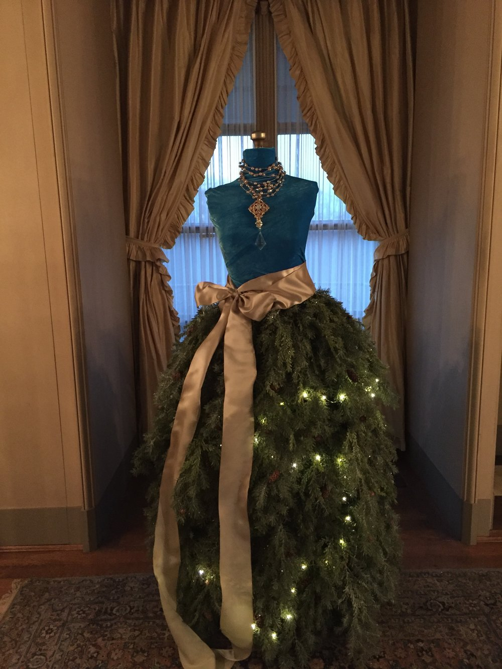 Our Christmas Dress built upon Mrs. Vanderbilt's dress form for the Vanderbilt Museum Twilight Christmas Tour.