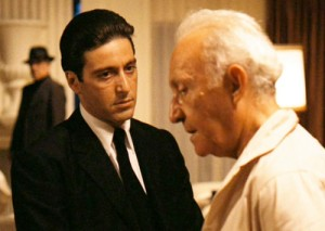 "Michael Corleone and Hyman Roth in ""The Godfather II"". Photo courtesy of Paramount Pictures."