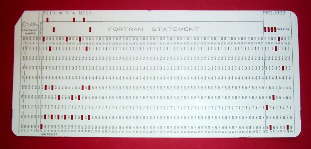 FORTRAN punch sheet