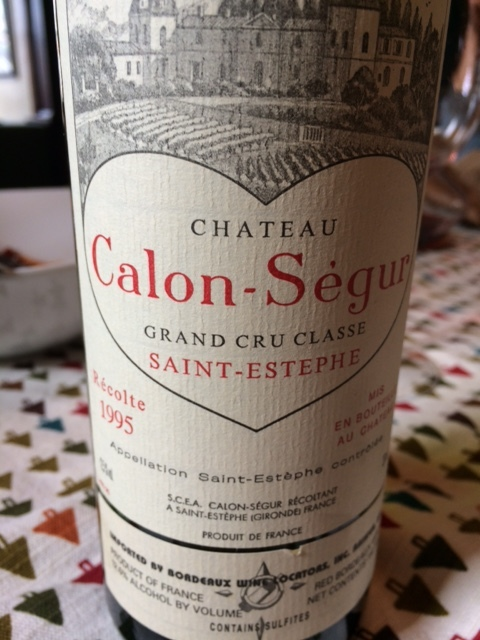 Alex's seduction wine, 21-year-old Calon Segur.