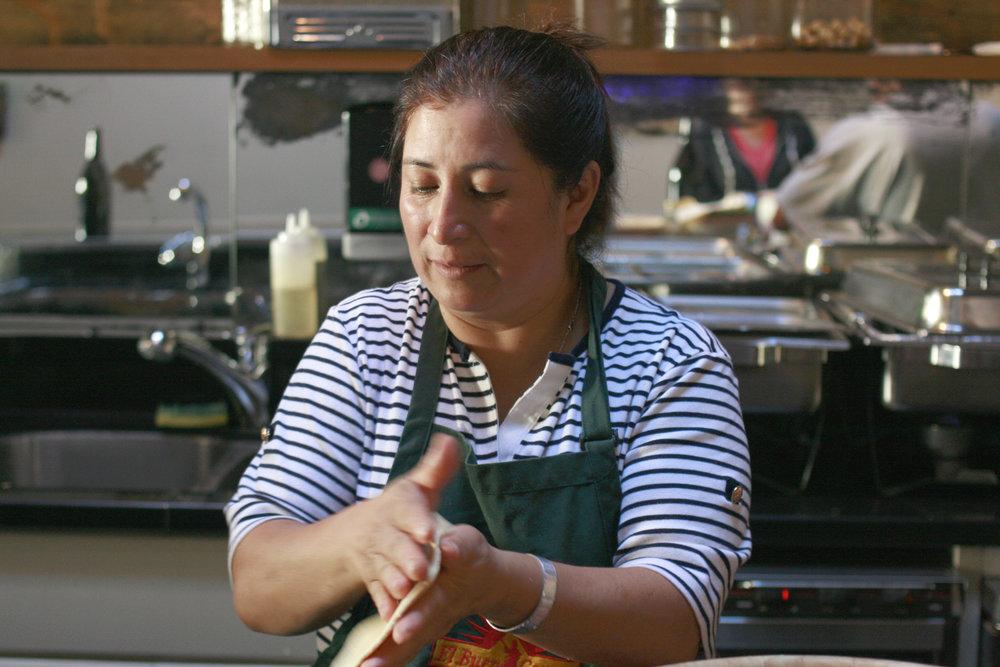 Making tortillas in the La Cocina kitchen. Photo courtesy of La Cocina.