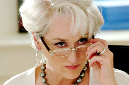 "Meryl Streep as Miranda Prieslty (aka the ""devil in Prada). Photo courtesy of monologuedb."