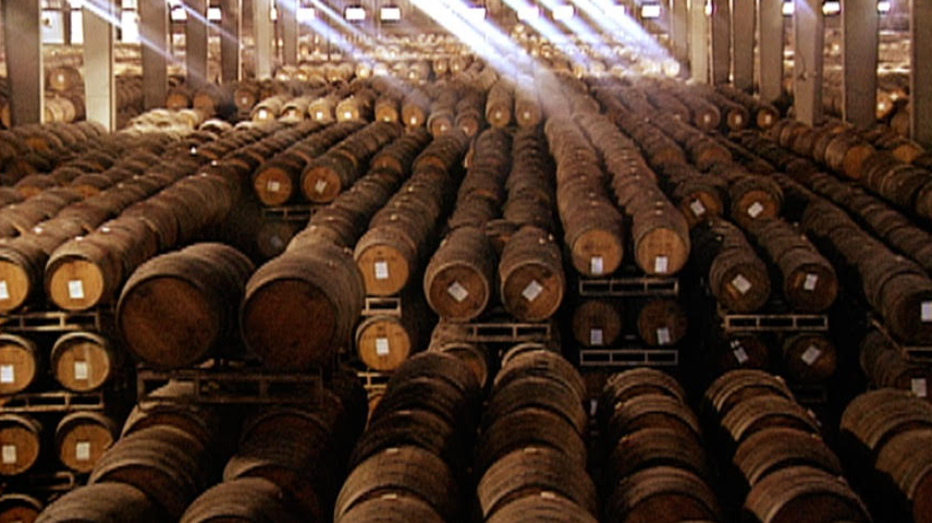 "Sun-lit barrel room in California from ""A merica's Wine: The Legacy of Prohibition ,"" Courtesy  The Bancroft Library"