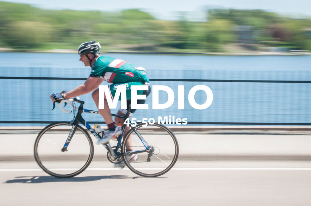ABOUT THE MEDIO - Maybe you're new here. Maybe you're just getting your season off to a solid but moderate start. Maybe sitting still for 100 miles isn't in the cards. Whatever your reason is, we've designed the MEDIO route just for you. With an aid station half(ish) way through, you'll be back in NE MPLS before you know it and in great shape to join the party festivities.