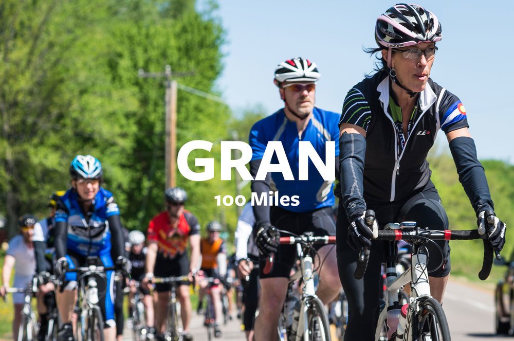 ABOUT THE GRAN - What's better than riding 40 miles with nearly 2,000 friends? Well, riding 100 miles with nearly 2,000 friends, duh. The Fondo completes a 104 mile loop encompassing urban riding, trails, suburban county roads and makes stops at 3 aid stations along the way. When you arrive back in NE MPLS at our production brewery you'll be received by thousands of party goers and as much Fulton beer as you'll need to recoup.