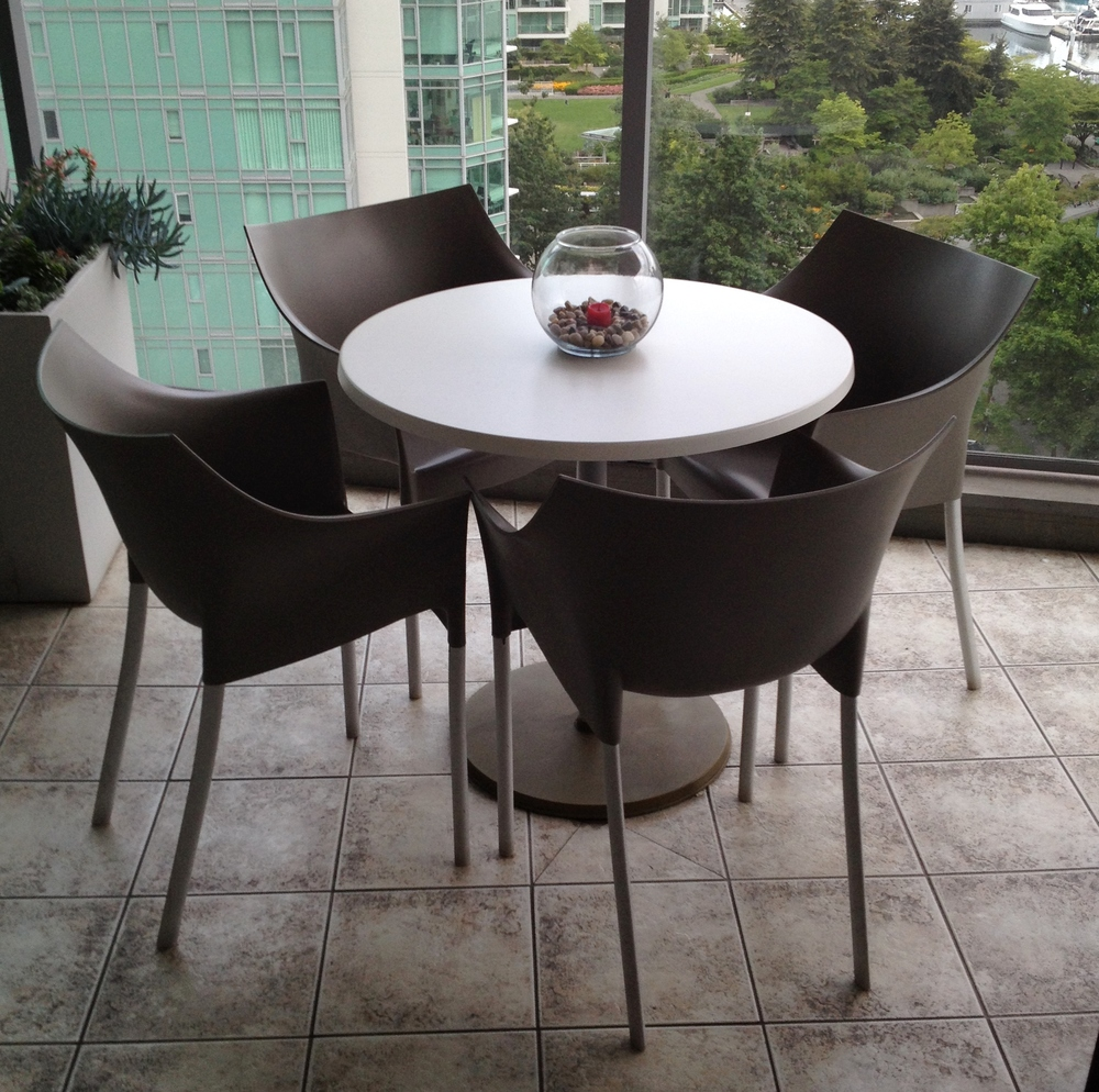 Patio table and kartell dr no chairs flock interiors furniture reselling redesign vancouver