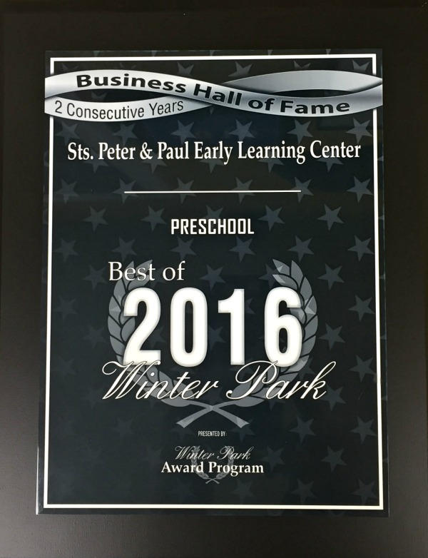 Sts. Peter & Paul Early Learning Center's 2016 Best of Winter Park Award