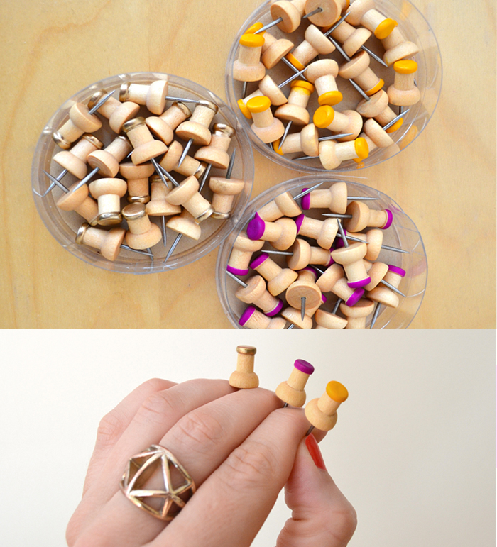 DIY dip painted push pins | Good Girl Goes Rad, for Rock Paper Scissors