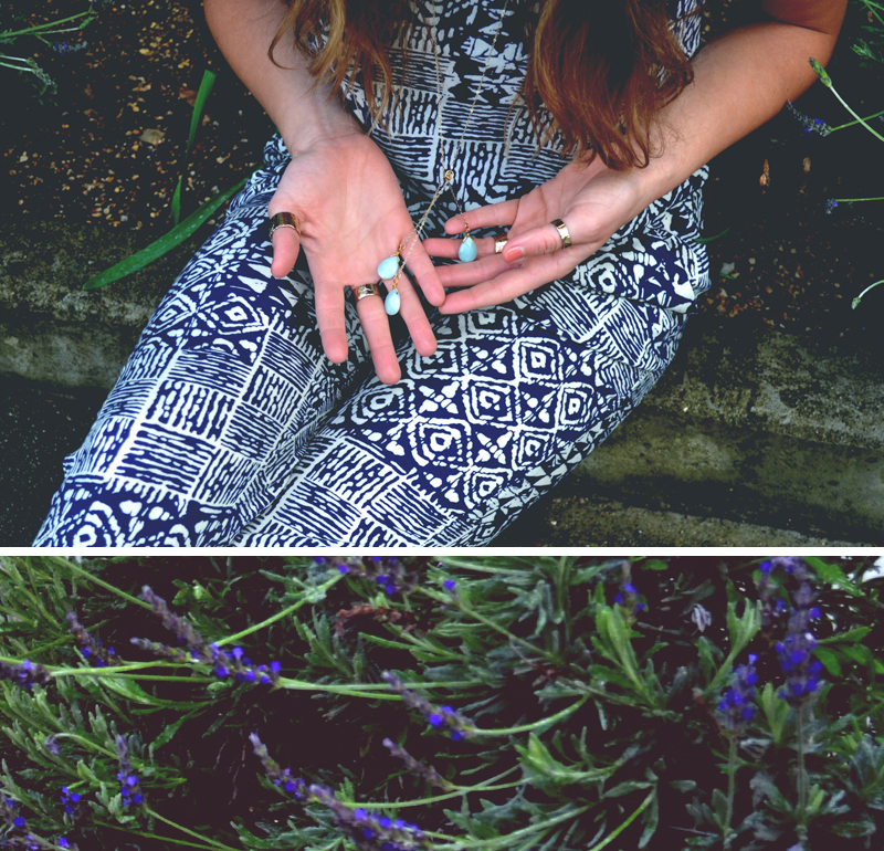 patterned jumpsuit | gold rings | Good Girl Goes Rad