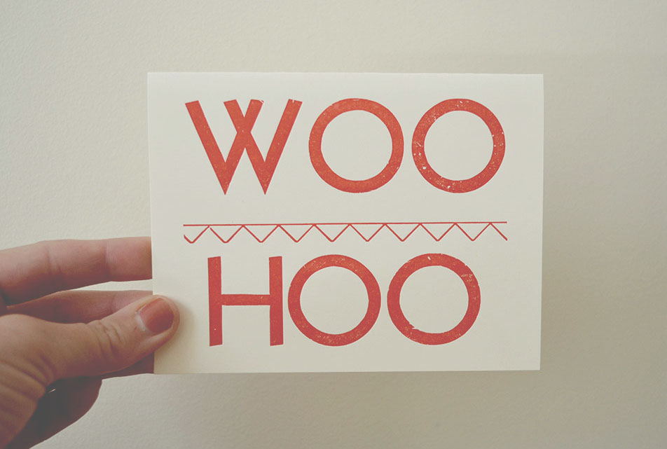 woo hoo letterpress card | good girls gone rad