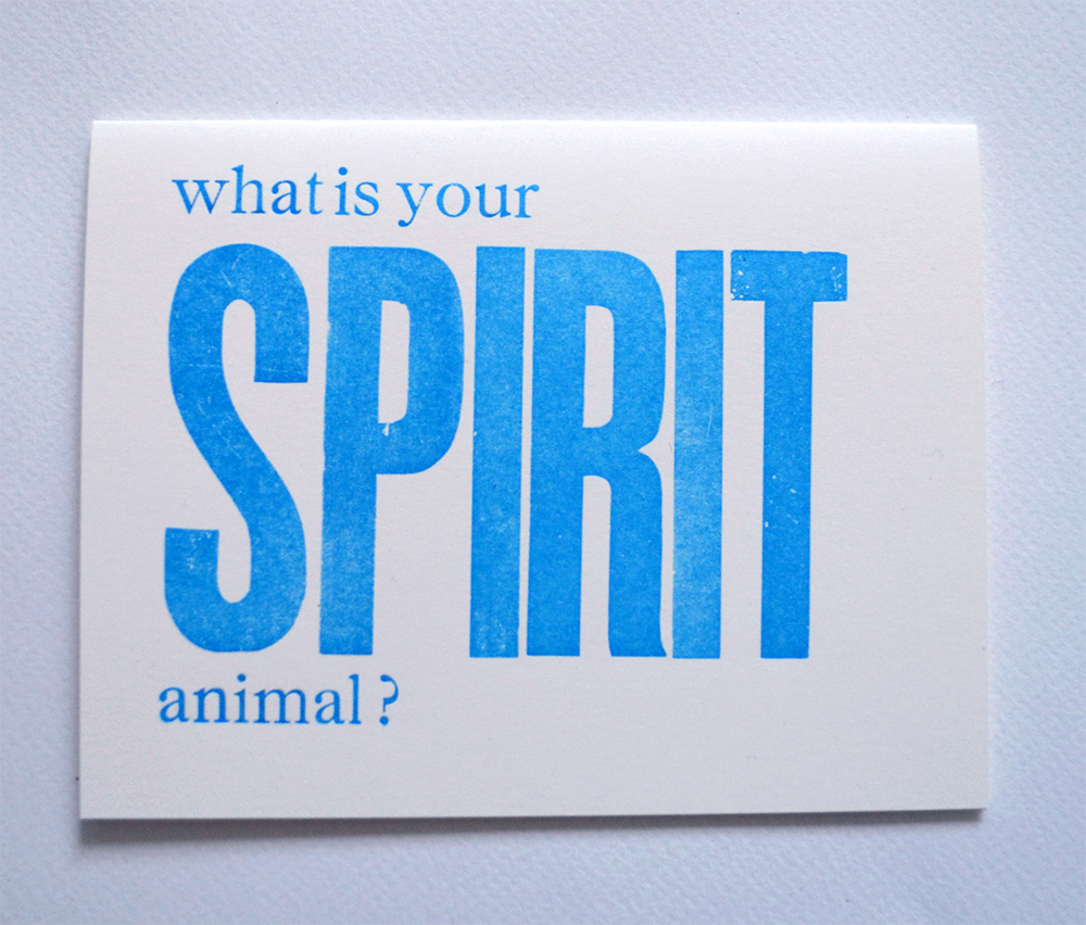 what's your spirit animal letterpress card | good girls gone rad