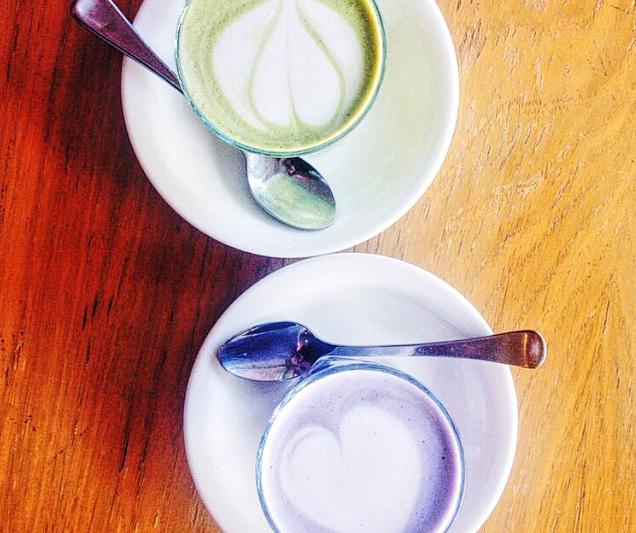 Taro and Matcha Lattes Perth Western Australia