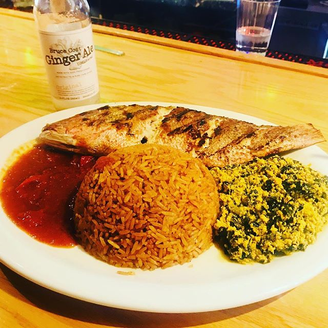 When missing Ghana and can't catch a flight nor wait for our next experience - @appioobargrill  Grilled Red Snapper, Jollof Rice, Egusi #thenextbestthing  #ghanapregame #globalinciteghana #ghanaianfood  #travel #ghana #experientiallearning