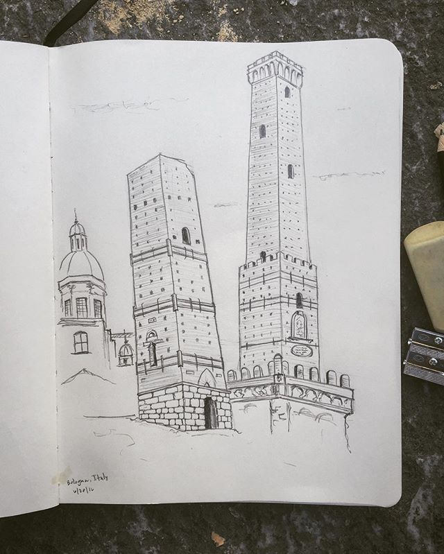 The two towers might wobble but they don't fall down. #medievalsketch #twotowers #bologna