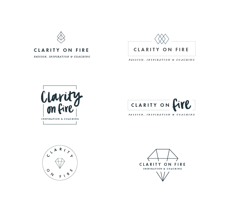 Clarity on Fire Logo Concepts Samantha Madeo Design