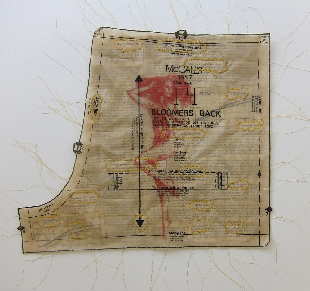 "Gather Along These Lines   – 2013, ink and thread on dress pattern and book pages, approximately 13x15.5"", paper plate lithography and embroidery, book pages taken from Alfred Kinsey's 1953 book,   Sexual Behavior in the Human Female"
