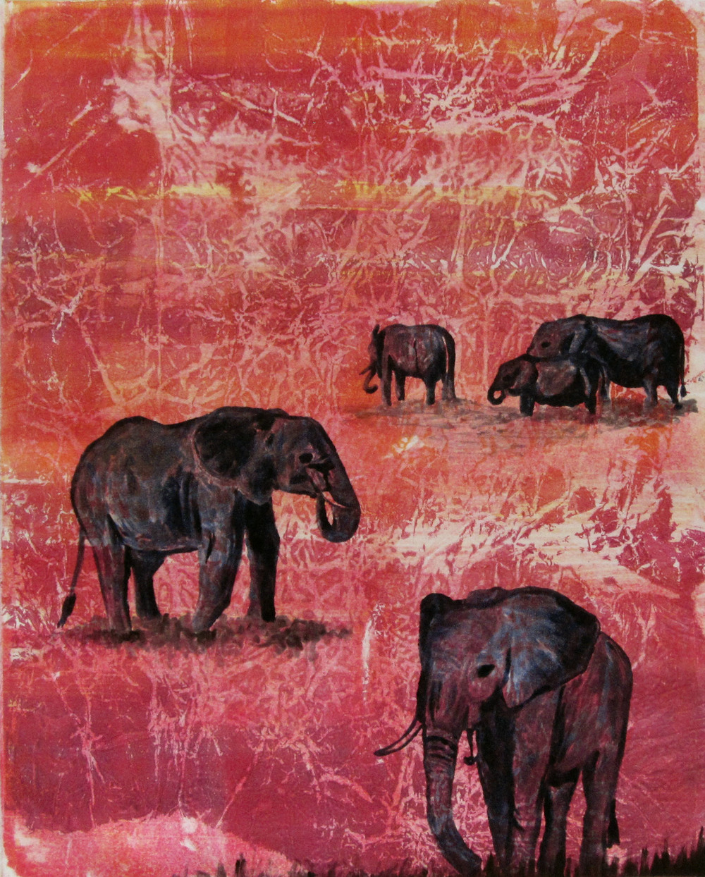 "Elephants at Sunset - 2012, ink on paper, 12x18"" image, monotype"