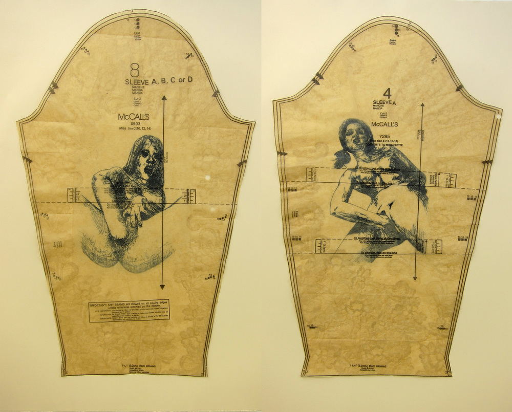 "Dirty Sleeves Diptych -   2013, ink on dress pattern, 16x25"" each, monotype and paper plate lithography"