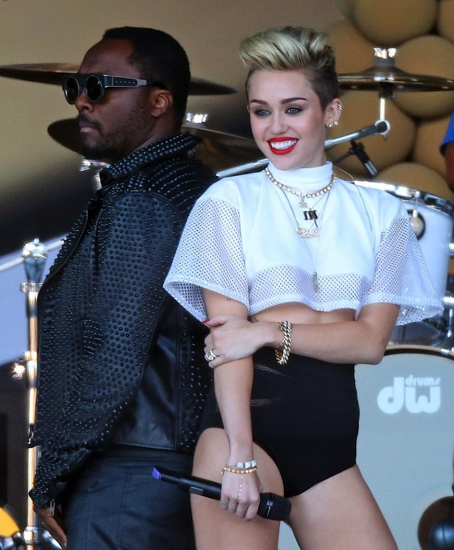 Miley Cyrus live on Jimmy Kimmel styled by Imogene Barron   (CUSTOM CROPPED MOCK NECK FOOTBALL JERSEY)