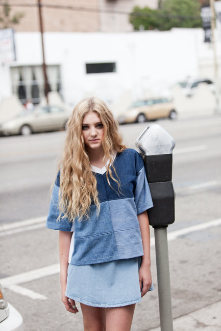 Willow Shields in Oyster Magazine shot by Ben Rayner & styled by Zara Mirkin     (DENIM PIECED FOOTBALL JERSEY)