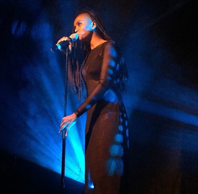Kelela in a series of custom mesh dresses for her European Tour